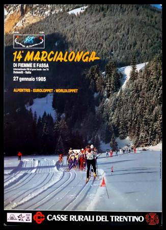 """1985 * Manifesto Poster Originale """"14° Marcialonga di Fiemme e Fassa, Dolomiti - Sci Gran Fondo"""" Italia (B+)"""