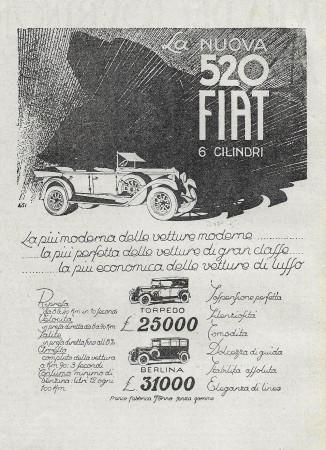 """1928 * Pubblicità Originale """"Fiat - Mod 520 6 Cilindri - Torpedo e Berlina"""" in Passepartout"""