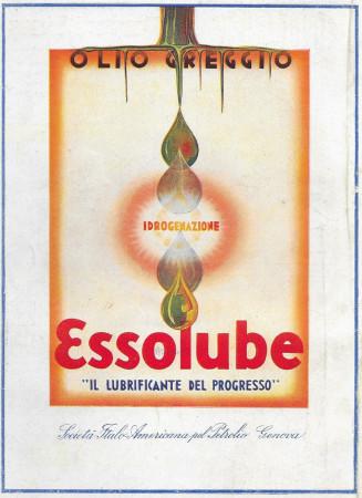 """1934 * Pubblicità Originale """"Esso - Essolube - Olio Greggio - BERNAZZOLI"""" Colori in Passepartout"""