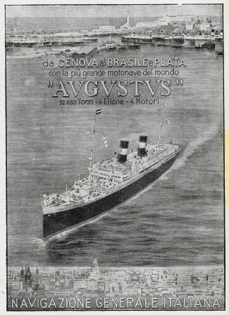 """1928 * Pubblicità Originale """"Navigazione Generale Italiana - Augustus - Da Genova al Brasile e Plata"""" in Passepartout"""