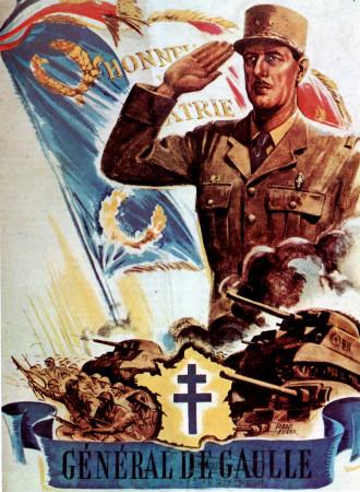 """ND (WWII) * Propaganda di Guerra Riproduzione """"Resistenza Francese - Generale De Gaulle"""" in Passepartout"""
