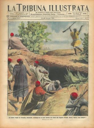 """1914 * La Tribuna Illustrata (N°11) – """"Guerra Libia, Cirenaica - Chevillard Volo a Roma"""" Rivista Originale"""
