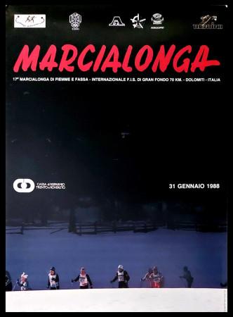 """1988 * Manifesto Poster Originale """"17° Marcialonga di Fiemme e Fassa, Dolomiti - Sci Gran Fondo"""" Italia (A-)"""