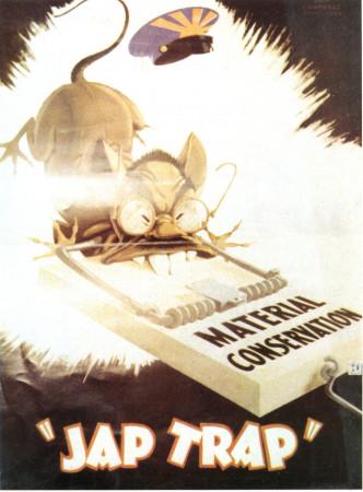 "ND (WWII) * Propaganda di Guerra Riproduzione ""USA - Trappola Per I Giapponesi"" in Passepartout"