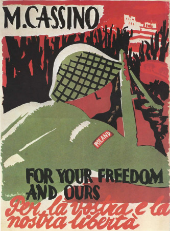 "ND (WWII) * Propaganda di Guerra Riproduzione ""USA - Cassino: For Your Freedom And Ours"" in Passepartout"