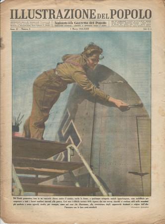 """1945 * Illustrazione del Popolo (N°9) """"Lavori Ausiliari Donne nel Reich Germanico """" Rivista Originale"""