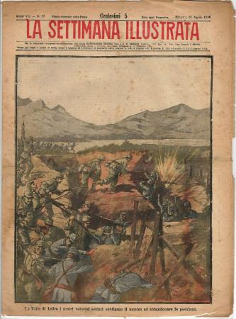 """1916 * La Settimana Illustrata (N°17) """"Battaglia Valle di Ledro - Regina Elena Dama Croce Rossa"""" Rivista Originale"""