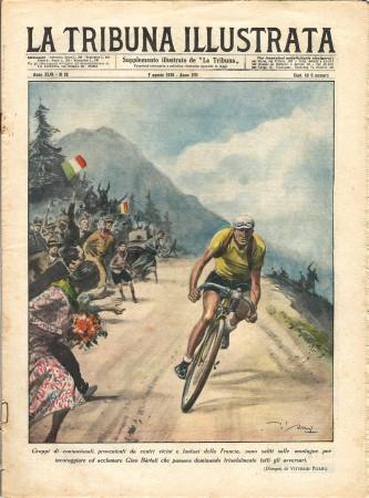 """1938 * La Tribuna Illustrata (N°32) – """"Gino Bartali Maglia Gialla Tour De France"""" Rivista Originale"""