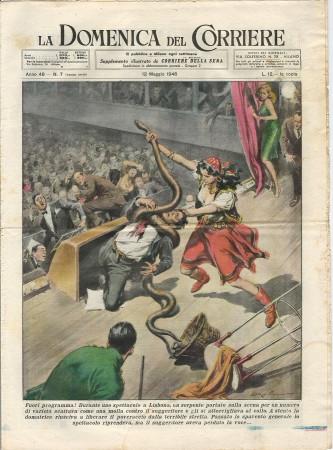 """1946 * La Domenica Del Corriere (N°7) """"Fuori Programma Lisbona - Due Innamorati a Roma"""" Rivista Originale"""