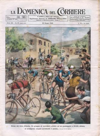 """1946 * La Domenica Del Corriere (N°14) """"Scene del Giro d'Italia - L'Uomo Anfibio"""" Rivista Originale"""