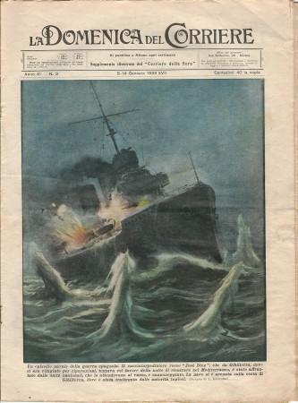 """1939 * La Domenica Del Corriere (N°3) """"Episodio Navale Guerra Spagnola - Toro e Aeroplano"""" Rivista Originale"""