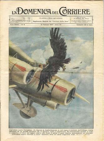 """1937 * La Domenica Del Corriere (N°8) """"L'Avvoltoio Contro Aeroplano - Primo Concerto Officine """" Rivista Originale"""