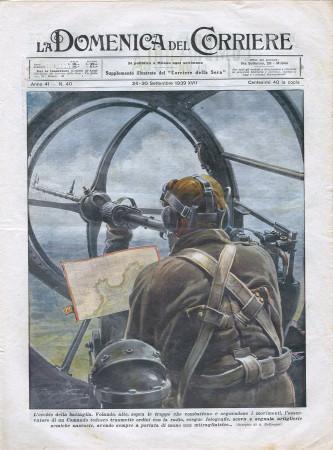 """1939 * La Domenica Del Corriere (N°40) """"L'Occhio della Battaglia - Duello fra Mare e Cielo """" Rivista Originale"""