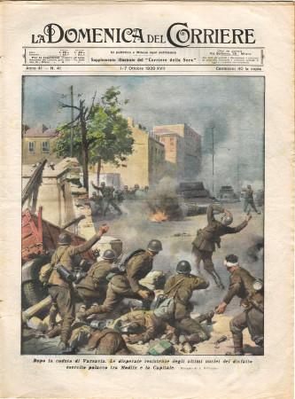 """1939 * La Domenica Del Corriere (N°41) """"Dopo la Caduta di Varsavia - Caduta Eccezionale Garfagnana """" Rivista Originale"""