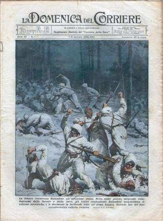 """1940 * La Domenica Del Corriere (N°1) """"Resistenza Finlandese Invasione Russa - Incidente Santiago """" Rivista Originale"""