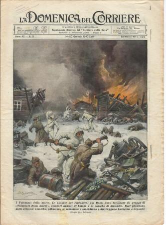"""1940 * La Domenica Del Corriere (N°3) """"Volontari della Morte - Contadino Bleggio Salva Figli"""" Rivista Originale"""