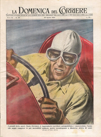 """1953 * La Domenica Del Corriere (N°34) """"I Grandi dello Sport Tazio Nuvolari Corridore """" Rivista Originale"""
