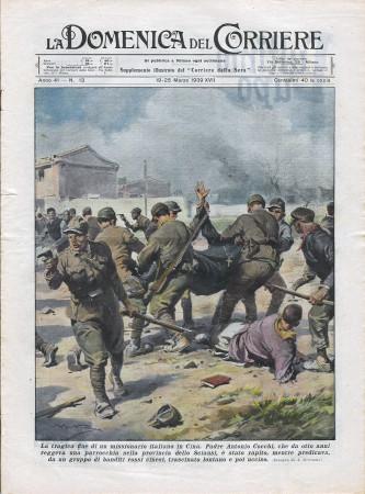"""1939 * La Domenica Del Corriere (N°13) """"Missionario Italiano Ucciso in Cina -  Corsa nella Notte """" Rivista Originale"""