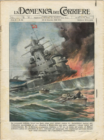 """1939 * La Domenica Del Corriere (N°53) """"Corazzata Graf Von Spee a Montevideo - Incidente Zarnesti"""" Rivista Originale"""