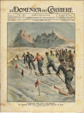 """1935 * La Domenica Del Corriere (N°6) """"Gara sciistica Alpe di Siusi - Collisione Nuova Jersey"""" Rivista Originale"""