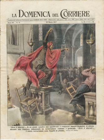 """1947 * La Domenica Del Corriere (N°13) """"Ecco il Diavolo! - L'Amorosa Frittata"""" Rivista Originale"""