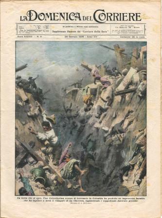 """1936 * La Domenica Del Corriere (N°4) """"Terremoto in Colombia - Aquila Reale Sopra Cane"""" Rivista Originale"""