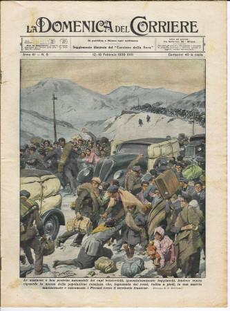 """1939 * La Domenica Del Corriere (N°8) """"Fuga dei Capi Bolscevichi Verso i Pirenei"""" Rivista Originale"""