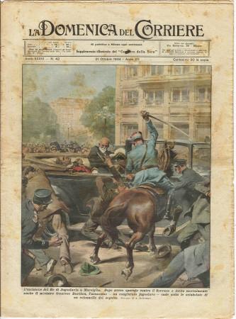 """1934 * La Domenica Del Corriere (N°42) """"Uccisione del Re di Jugoslavia a Marsiglia"""" Rivista Originale"""
