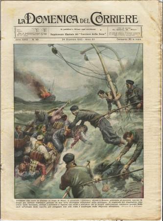 """1933 * La Domenica Del Corriere (N°52) """"Soccorso Piroscafo Livorno - Il Corteo del Buon Umore"""" Rivista Originale"""