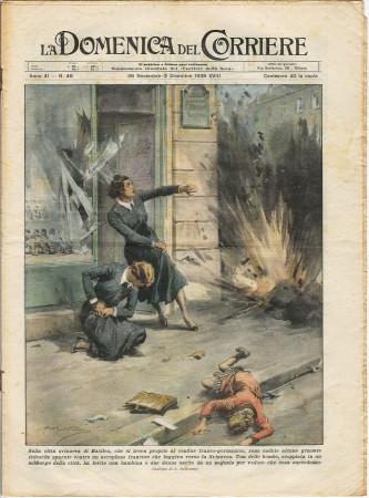"""1939 * La Domenica Del Corriere (N°49) """"Granate Tedesche Basilea - Matricole Universitarie Americane """" Rivista Originale"""