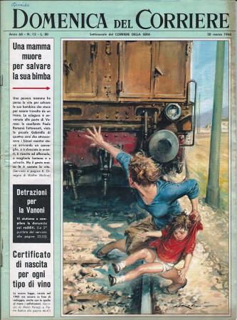 """1966 * La Domenica Del Corriere (N°12) """"Tragedia Treno a Varese - Caccia alla Volpe Inghilterra"""" Rivista Originale"""