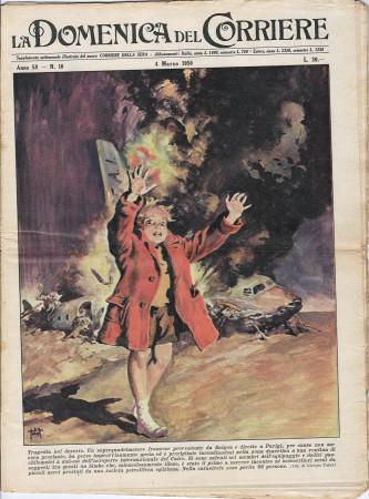 """1956 * La Domenica Del Corriere (N°10) """"Tragedia nel Deserto - Incidente Lago di Varese"""" Rivista Originale"""