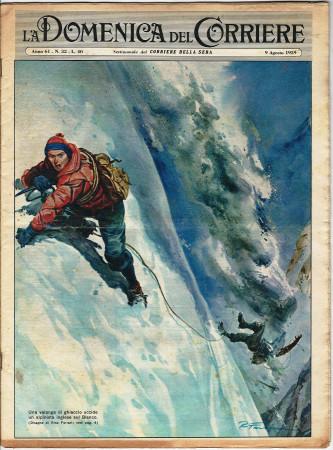 """1959 * La Domenica Del Corriere (N°32) """"Valanga Uccide Alpinista Monte Bianco - Stornelli Affamati"""" Rivista Originale"""