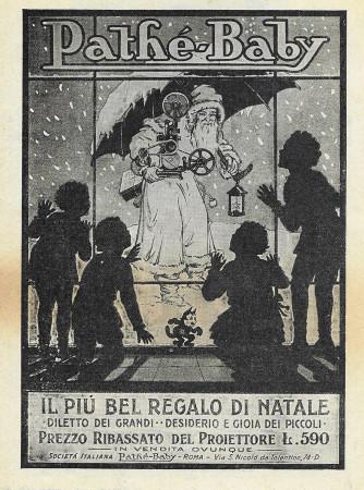 """1928 * Pubblicità Originale """"Pathè-Baby - Il Più Bel Regalo Di Natale"""" in Passepartout"""