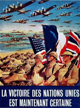 """ND (WWII) * Propaganda di Guerra Riproduzione """"Francia - La Vittoria Delle Nazioni Unita È Certa"""" in Passepartout"""