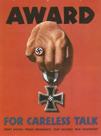 "ND (WWII) * Propaganda di Guerra Riproduzione ""USA - Ricompensa Per Chiacchiere Imprudenti"" in Passepartout"