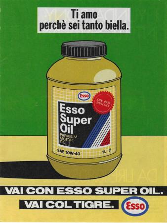 """1989 * Pubblicità Originale """"Esso -Super Oil – Verde"""" Colori in Passepartout"""