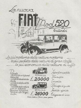 """1928 * Pubblicità Originale """"Fiat - Mod 520 6 Cilindri"""" in Passepartout"""