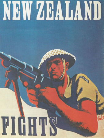 """ND (WWII) * Propaganda di Guerra Riproduzione """"Nuova Zelanda - Combatti"""" in Passepartout"""