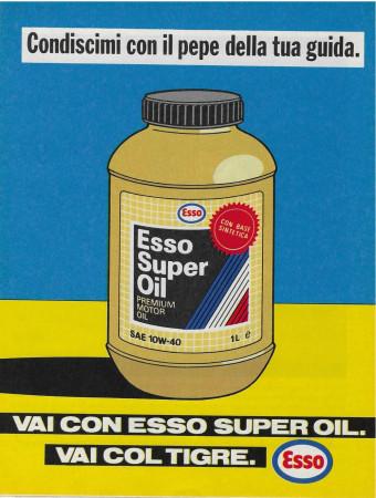 """1989 * Pubblicità Originale """"Esso -Super Oil – Blu"""" Colori in Passepartout"""