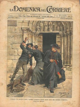 """1906 * La Domenica Del Corriere (N°1) """"Attentato Arcivescovo Casanas - Capodanno Alpini"""" Rivista Originale"""