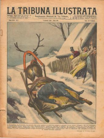 """1938 * La Tribuna Illustrata (N°1) – """"Assassinio dello Sposo - Incidente a Lagaro"""" Rivista Originale"""
