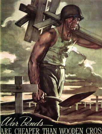 """ND (WWII) * Propaganda di Guerra Riproduzione """"USA - Buoni Di Guerra Costano Meno Delle Croci"""" in Passepartout"""