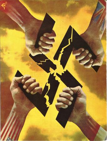 """ND (WWII) * Propaganda di Guerra Riproduzione """"Alleati - Forze Unite"""" in Passepartout"""