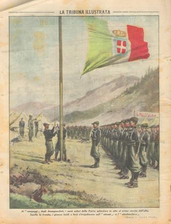 """1931 * Rivista Storica Originale """"La Tribuna Illustrata (N°34) - Alzabandiera nei Campeggi degli Avanguardisti"""""""