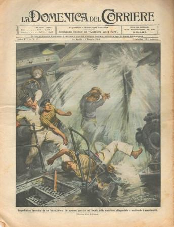 """1910 * Rivista Storica Originale """"La Domenica Del Corriere (N°17) - Torpediniera Investita da un Incrociatore"""""""