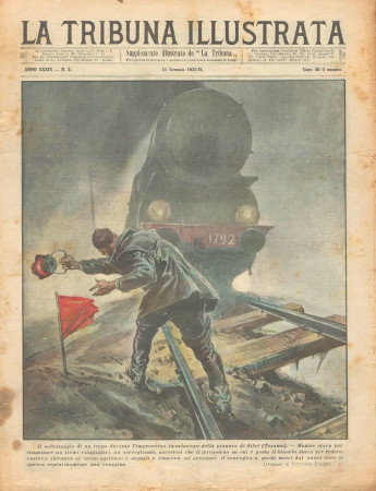 """1931 * Rivista Storica Originale """"La Tribuna Illustrata (N°2) - Salvataggio Treno Durante Inondazione"""""""