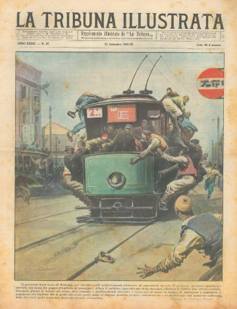 """1931 * Rivista Storica Originale """"La Tribuna Illustrata (N°37) - Sciopero Personale Tramviario"""""""