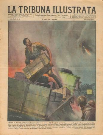 "1938 * La Tribuna Illustrata (N°43) – ""Tenente S Puglisi - Bufera in Inghilterra"" Rivista Originale"