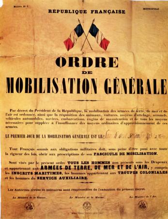 """ND (WWII) * Propaganda di Guerra Riproduzione """"Francia - Ordine di Mobilitazione Generale"""" in Passepartout"""